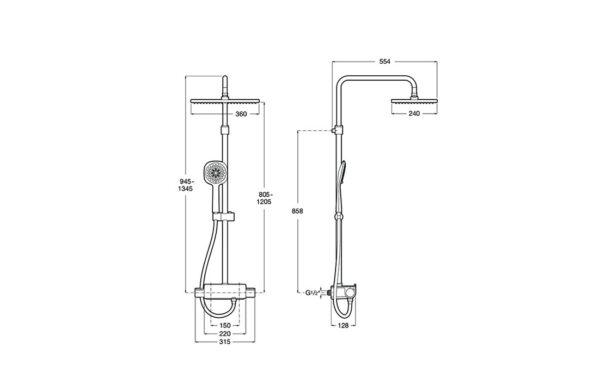 Columna de ducha termostática con repisa Roca Deck